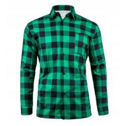 Robocza Koszula Flanelowa zielona 100% Bawełna bawełniana do pracy ochronna dla pracowników w kratę zapinana na guziki odzież robocza dla pracowników bhp sklep system internetowy zielona czarna kratownica z kołnierzykiem polska produkcja
