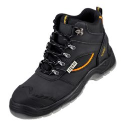 Buty robocze URGENT 126 S1 do pracy ochronne bhp sklep system internetowy czarne trzewiki za kostkę mocne wytrzymałe skórzane dla pracowników sznurowane z podnoskiem stalkapy z noskiem metalowym czarne żółte
