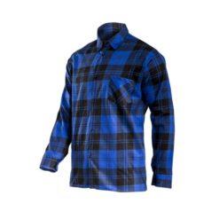 Koszula flanelowa LAHTI PRO L41808 Granatowa do pracy ochronna dla pracowników lekka przewiewna oddychająca w kratę bhp sklep system internetowy niebieska czarna granatowa przód