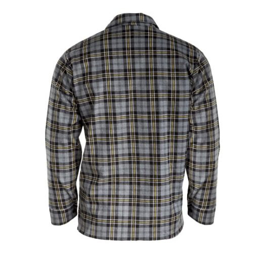 Koszula flanelowa LAHTI PRO L41810 Szara do pracy ochronna dla pracowników lekka przewiewna oddychająca w kratę bhp sklep system internetowy szara żółta czarna tył