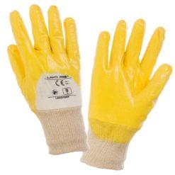 Rękawice ochronne LAHTI PRO L2201 powlekane nitrylem do pracy ochronne dziane mankiet oblane nitrylowe wytrzymałe odporne na smar olej dla pracowników bhp sklep system internetowy szare beżowe białe żółte
