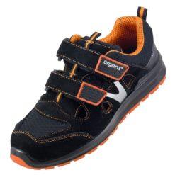 Sandały robocze URGENT 309 S1 do pracy ochronne przewiewne na rzepy z podnoskiem stalkapy obuwie bezpieczne bhp sklep system internetowy zamszowe czarne pomarańczowe antypoślizgowe z odblaskami