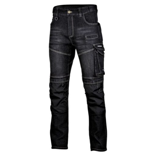 Spodnie Robocze Jeansowe Lahti PRO L40517 Czarne do pracy ochronne wycieruchy dżins dla pracowników elastyczne monterskie z kieszeniami do pasa w pas mocne odzież robocza bhp sklep system internetowy czarne