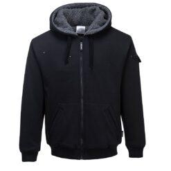 Bluza robocza PORTWEST KS32 Sherpa do pracy lekka bluza ocieplana sherpa z barankiem kurtka hoodie na suwak dla pracowników bhp sklep system internetowy odzież dla pracowników ochronna z kapturem czarna