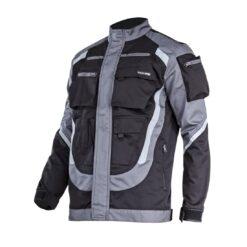 Bluza robocza LAHTI PRO L40414 do pracy ochronna dla pracowników wygodna wytrzymała z kieszeniami z odblaskami odzież robocza bhp sklep system internetowy regulowana na rzepy szara czarna