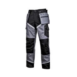 Spodnie robocze LAHTI PRO L40516 monterskie do pracy z kieszeniami wytrzymałe odzież ochronna dla pracowników bhp sklep system internetowy dużo kieszenie kieszenie workowe do pasa w pas z odblaskami szare czarne
