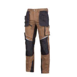 Spodnie robocze LAHTI PRO L40522 do pasa w pas dla pracowników odzież robocza ochronna bhp sklep system internetowy z elastanem elastyczne wkładki nakolannikowe wytrzymałe z odblaskami brązowe czarne