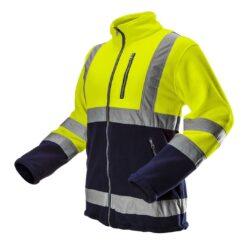 Bluza polar ostrzegawcza NEO TOOLS 81-740 do pracy odzież robocza ciepła bluza na suwak rozpinana odblaskowa dwukolorowa z pasami odblaskowymi odblaskami kieszenie ciepła bhp sklep system internetowy dla drogowców wysokiej widoczności granatowa żółta