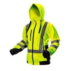 Bluza robocza ostrzegawcza NEO TOOLS 81-745 do pracy ochronna kangura ciepła z kapturem na suwak odzież wysokiej widoczności bhp sklep system internetowy z odblaskami dla pracowników dla drogowców żółta czarna żarówiasta