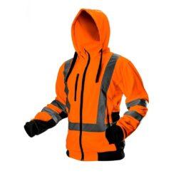 Bluza robocza ostrzegawcza NEO TOOLS 81-746 do pracy ochronna kangura ciepła z kapturem na suwak odzież wysokiej widoczności bhp sklep system internetowy z odblaskami dla pracowników dla drogowców pomarańczowa czarna żarówiasta