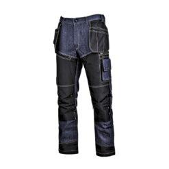 Spodnie robocze LAHTI PRO L40518 do pracy ochronne odzież dla pracowników wygodne dopasowane wzmocnione dżinsowe jeansowe bhp sklep system internetowy worki kieszeniowe kieszenie monterskie granatowe czarne