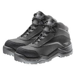 Trzewiki robocze NEO TOOLS 82-151 S3 SRC do pracy za kostkę buty bezpieczne ochronne z podnoskiem noskiem włókno szklane nubuk kevlar antyprzebiciowe obuwie bezpieczne bhp sklep system trapery za kostkę antypoślizgowe wygodne bez metalu czarne szare