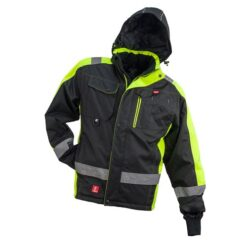 Kurtka robocza ocieplana URGENT GL-8365 do pracy dla pracowników ciepła ocieplana bhp odzież robocza dla wytrzymała wiatroszczelna przeciwdeszczowa wodoodporna z kieszeniami z nadrukami firmowa zimówka zimowa z odblaskami czarna żółta zielona
