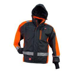Kurtka robocza ocieplana URGENT GL-8368 do pracy dla pracowników ciepła ocieplana bhp odzież robocza dla wytrzymała wiatroszczelna przeciwdeszczowa wodoodporna z kieszeniami z nadrukami firmowa zimówka zimowa z odblaskami czarna pomarańczowa
