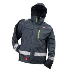 Kurtka robocza ocieplana URGENT GL-8369 do pracy dla pracowników ciepła ocieplana bhp odzież robocza dla wytrzymała wiatroszczelna przeciwdeszczowa wodoodporna z kieszeniami z nadrukami firmowa zimówka zimowa z odblaskami czarna szara