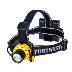 Latarka czołowa Portwest PA64 Ultra Power czołówka dla pracowników do pracy lampka na głowę na baterie czarna żółta regulowana sklep bhp system