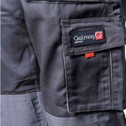Spodnie robocze GALMAG WH290 do pasa ochronne robocze w pas bhp odzież dla pracowników wytrzymałe z kieszeniami do pracy fizycznej mocne szare grafitowe detal