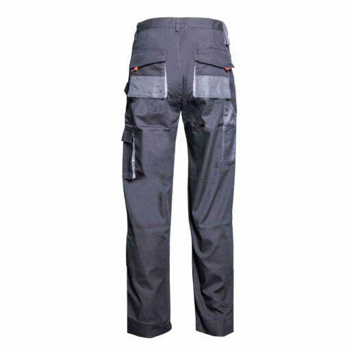 Spodnie robocze GALMAG WH290 do pasa ochronne robocze w pas bhp odzież dla pracowników wytrzymałe z kieszeniami do pracy fizycznej mocne szare grafitowe tył