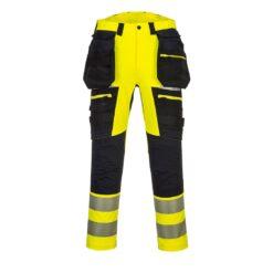 Spodnie ostrzegawcze PORTWEST DX442 do pracy odzież robocza spodnie robocze ochronne bhp sklep system internetowy ostrzegawcze wysokiej widoczności dla drogowców żarówiaste wytrzymałe strecz rozciągliwe z workami kieszeniowymi premium żółte zielone czarne przód