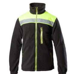 Bluza robocza polar BENEFIT RIVAL do pracy ochronna ciepła na suwak ostrzegawcza z odblaskiem odzież robocza ochronna bhp sklep system internetowy ze stójką 3 kieszenie ze ściągaczem czarna żółta