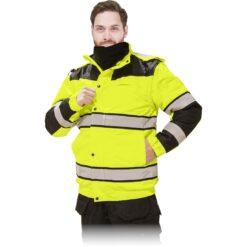 Kurtka ostrzegawcza ocieplana REIS MILLING do pracy ochronna bhp sklep system internetowy z odblaskami ciepła na zimę zimowa dla drogowców wysokiej widoczności dla pracowników puchowa z kapturem wodoodporna przeciwdeszczowa żółta czarna