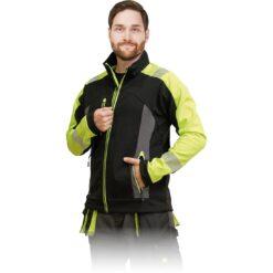 Kurtka softshell LH-SHELLVIS do pracy robocza wiatrówka wodoodporna podszyta polarem odzież robocza dla pracowników bhp sklep system internetowy czarna żółta wysokiej widoczności