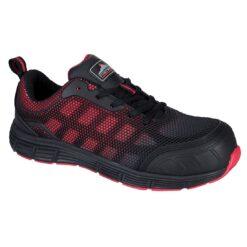 Buty robocze PORTWEST FT35 S1P do pracy ochronne bhp obuwie półbuty bezpieczne dla pracowników lekkie kompozytowe bez metalu z noskiem twardym plastikowym antypoślizgowe siateczkowe przewiewne wygodne przed kostkę czarne czerwone