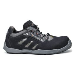 Półbuty robocze BASE B0643 DARTS S1P ESD SRC do pracy ochronne obuwie bezpieczne premium wygodne drogie dla pracowników antypoślizgowe bez metalu kompozytowe z noskiem podnoskiem ochronnym szare czarne