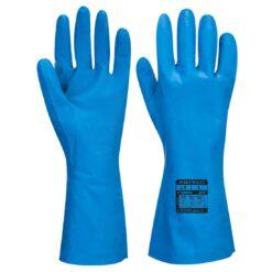 Rękawice nitrylowe dla przemysłu spożywczego PORTWEST A814 do pracy ochronne cienkie do pracy przemysł spożywczy do kontaktu z żywnością długie HACCP z teksturą cienkie niebieskie