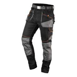 Spodnie robocze NEO TOOLS 81-238 Slim do pracy ochronne bhp sklep system internetowy wygodne ze streczem stretchem elastan oxford wąska nogawka dla pracowników wytrzymałe potrójne szwy czarno szare z paskiem