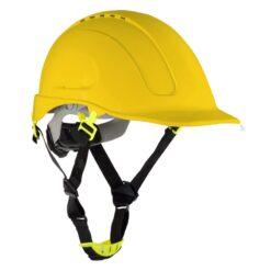 Hełm ochronny LAHTI PRO L10405 kask przemysłowy z paskiem podbródkowym 4 punktowy do pracy środki ochrony indywidualnej odzież bhp sklep system internetowy wentylowany wygodny na śrubę pokrętło żółty