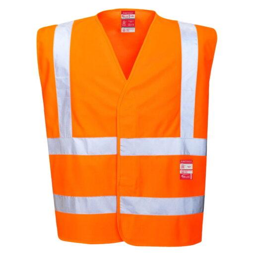 Kamizelka ostrzegawcza trudnopalna PORTWEST FR75 ochronna spawalnicza bhp sklep system internetowy odzież dla spawaczy szlifierzy narzutka na rzep wytrzymała iso 20471 pomarańczowa