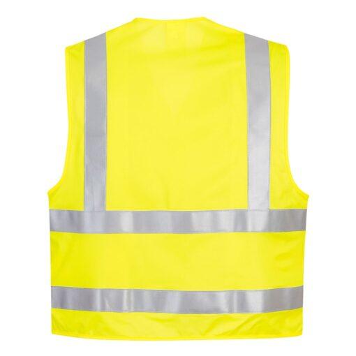 Kamizelka ostrzegawcza trudnopalna PORTWEST FR75 ochronna spawalnicza bhp sklep system internetowy odzież dla spawaczy szlifierzy narzutka na rzep wytrzymała iso 20471 żółta seledynowa tył