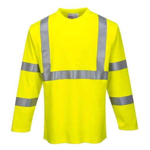 Koszulka trudnopalna PORTWEST FR96 do pracy spawalnicza antystatyczna wytrzymała bhp sklep system internetowy odzież ochronna odblaskowa z pasami odblaskowymi cienka lekka longsleeve żółta