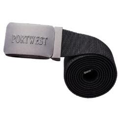 Pasek do spodni PORTWEST C105 czarny elastyczny do spodni roboczych bhp sklep system internetowy z klamrą metalową na zatrzask wygodny