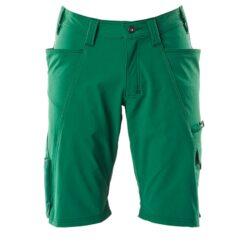 Spodenki robocze MASCOT 18149-511-03 do pracy szorty bermudy odzież bhp sklep system internetowy streczowe elastyczne elastik letnie na lato dla pracowników premium z kieszeniami wytrzymałe zielone