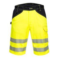 Spodnie krótkie ostrzegawcze PORTWEST PW348 do pracy szorty bermudy odblaskowe dla drogowców bhp odzież ochronna sklep system internetowy szorty wygodne wytrzymałe dla pracowników na lato żółte czarne seledynowe