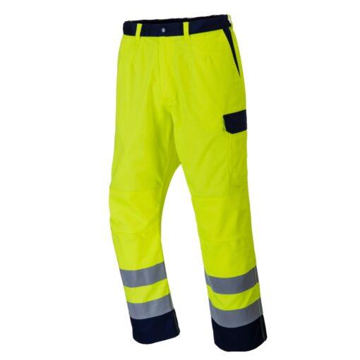 Spodnie trudnopalne ostrzegawcze PORTWEST FR92 do pracy ochronne spawalnicze dla spawaczy szlifierzy mocne wytrzymałe odblaskowe z pasami odblaskowe żółte granatowe dla pracowników odzież ochronna antystatyczna antyelektrostatyczna bok