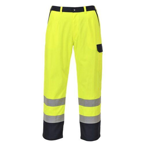 Spodnie trudnopalne ostrzegawcze PORTWEST FR92 do pracy ochronne spawalnicze dla spawaczy szlifierzy mocne wytrzymałe odblaskowe z pasami odblaskowe żółte granatowe dla pracowników odzież ochronna antystatyczna antyelektrostatyczna
