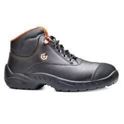 Trzewiki robocze BASE B0154 Prado S3 SRC obuwie bezpieczne wodoodporne buty bhp sklep system internetowe skórzane mocne porządne z podnoskiem stalkapy metalowy antypoślizgowe wygodne premium wkładka antyprzecięciowa do pracy dla pracowników czarne pomarańczowe
