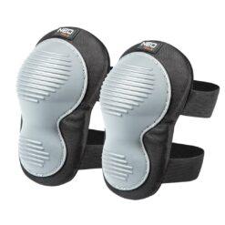 Nakolanniki z poduszką NEO TOOLS 97-537 na kolana na rzepy wygodne miękkie elastyczne wytrzymałe do klęczków do pracy dla pracowników glazurników czarne na rzep szare