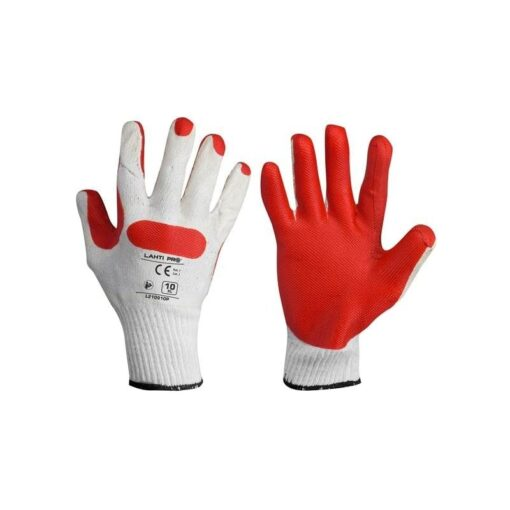 Rękawice robocze brukarskie LAHTI PRO L2109 do pracy dla brukarzy brukarskie dla pracowników bhp sklep system internetowy grube wytrzymałe gumowane powlekane lateks dzianinowe sklep bhp system internetowy czerwone białe