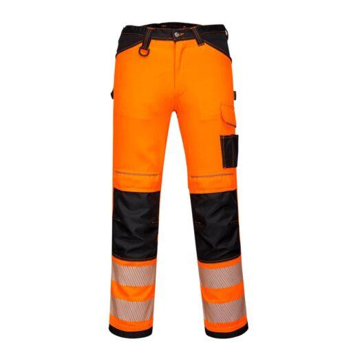 Spodnie ostrzegawcze PORTWEST PW303 Stretch do pasa w pas ochronne odzież robocza dla pracowników bhp sklep system internetowy żarówiaste odblaskowe dla drogowców wytrzymałe elastyczne strecz elastan pomarańczowe czarne