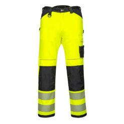 Spodnie ostrzegawcze PORTWEST PW303 Stretch do pasa w pas ochronne odzież robocza dla pracowników bhp sklep system internetowy żarówiaste odblaskowe dla drogowców wytrzymałe elastyczne strecz elastan żółte czarne