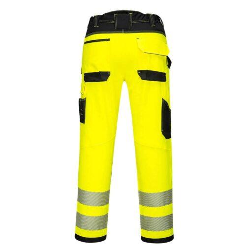 Spodnie ostrzegawcze PORTWEST PW303 Stretch do pasa w pas ochronne odzież robocza dla pracowników bhp sklep system internetowy żarówiaste odblaskowe dla drogowców wytrzymałe elastyczne strecz elastan żółte czarne tył