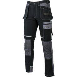 Spodnie robocze LAHTI PRO L40520 do pasa w pas odzież robocza ochronna dla pracowników slimowane bezpieczne bhp sklep system internetowy wzmocnione z odblaskami kieszenie workowe płótno canvas czarne szare