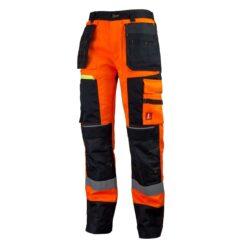 Spodnie robocze URGENT 714 Ostrzegawcze do pracy ochronne bhp sklep system internetowy dla pracowników odblaskowe z odblaskami ostrzegawcze dla drogowców wytrzymałe z kieszeniami odzież do pracy pomarańczowe czarne przód