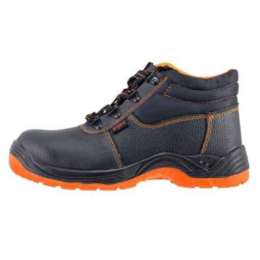 Buty robocze URGENT 101 S3 SRC trzewiki obuwie bezpieczne bhp ochronne z podnoskiem noskiem metalowym stalkapy antypoślizgowe skórzane skórkowe antyprzebiciowe z wkładką metalową czarne pomarańczowe bok