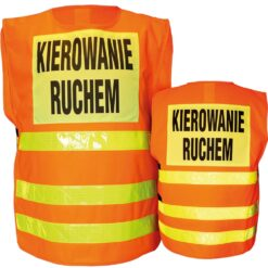 Kamizelka ostrzegawcza KIEROWANIE RUCHEM dla drogowców do pracy na drogach na budowę drogi odblaskowa żarówiasta dla pracowników bhp sklep system internetowy pomarańczowa żółta