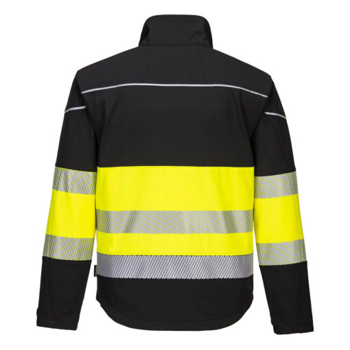 Kurtka softshell ostrzegawcza PORTWEST PW375 PW3 do pracy ochronna wiatrówka lekka kurtka wytrzymała bhp odzież robocza dla pracowników z odblaskami dla drogowców pw3 nowoszena na suwak wodoodporna czarna żółta tył